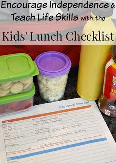 Kids' Lunch Checklist – Free Printable
