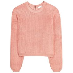 See By Chloé Cotton Sweater ($525) ❤ liked on Polyvore featuring tops, sweaters, pink, see by chloé, cotton sweater, pink sweater, see by chloe sweater and red top