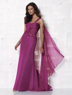 Cameron Blake 112642. Gorgeous magenta,one-shoulder, chiffon A-line dress with sweetheart neckline, asymmetrical ruched single shoulder strap. Bodice has swirl design trimmed with beading
