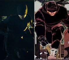 On the left: Charlie Cox in his Daredevil costume. On the right: Frank Miller