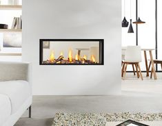 Exclusive double sided fireplace design ideas in modern home interiors : Modern Home Contemporary Double Sided Fireplace Living Room Dining Room Modern Room, Room Design, Home, Living Dining Room, Modern Room Divider, Home Fireplace, Living Room With Fireplace, Glass Fireplace, Modern Fireplace