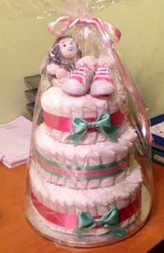 Girls nappy (diaper) cake