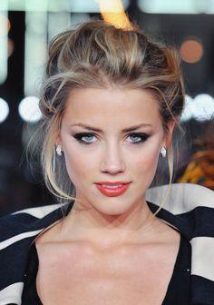 I love Amber Heard's loose bun and smoky eye makeup. #prom #inspiration #beauty #hair  ~Brittany
