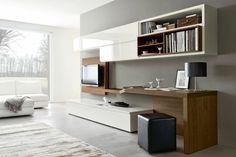 aménagement mural meuble tele et bureau   Aménagement de bureau moderne dans un salon contemporain en 16 idées ...