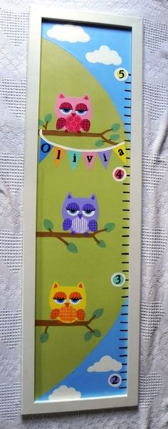 Owl Sorts of Adorableness---Hand Painted Personalized Framed Quality Handcrafted Wooden Growth Chart. $85.00, via Etsy.