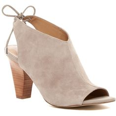 Franco Sarto Cori Peep Toe Bootie ($42) ❤ liked on Polyvore featuring shoes, boots, ankle booties, cocco, suede booties, suede ankle boots, suede lace-up booties, open toe booties and peep-toe booties
