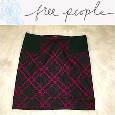 """Free People Black Purple & Maroon Stretch Skirt XS B5-101-SGW10 - Free People Black Purple & Maroon Stretch Skirt XS -  This skirt has two thick elastic strips on each side of the waistband - Dimensions: (Approx.) 12.75"""" across the waist, 15"""" length - Condition: Excellent condition; No rips or stains. Please see photos for more details. Free People Skirts"""