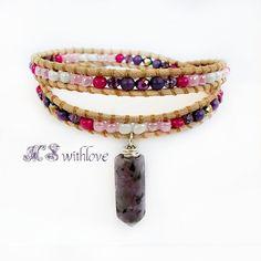 Purple Jasper Stone Bracelet Purple Leather Wrap by MSwithlove