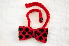 Hand Knit Girls Red Ladybird Bow, Soft Rib Adjustable Headband,One Size Fits All