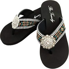 c94257603a67 Women s Aztec Design Full Rhinestones Round Concho Black Brown Turquoise Flip  Flop Sandals