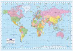 Mapa mundial político Póster de gran tamaño