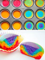 How to make Rainbow Cupcakes... use different coloured food colouring and add purple on the bottom of the pan and go up from there...enjoy!