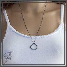 Geometric  Ring Necklace,Eternity Necklace,Drop Circle Necklace,Ring Necklace,Sterling Silver,Contemporary Jewelry,Minimalist Necklace by FashionArtJewelry on Etsy