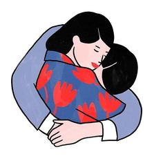 Your arms -  #illustration #lorrainesorlet #love #lovers #arms #art #artwork #amour #couple #instagood