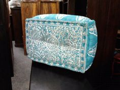 Turquoise Oblong embroidered floor cushion/ottoman- Sorry turquiose only. Floor Cushions, Ottomans, Tub Chair, Accent Chairs, Turquoise, Flooring, Furniture, Home Decor, Homemade Home Decor