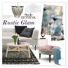 """Rustic Glam"" by szaboesz ❤ liked on Polyvore featuring interior, interiors, interior design, home, home decor, interior decorating, WALL, Loloi Rugs, BoConcept and Tom Dixon"