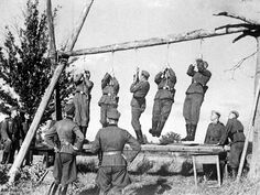 """German soldiers prepare the gallows for who knows what unfortunate innocents. Note how the executioners test the ropes for """"quality control."""" This is guilt that is NEVER erased. And, no, war does NOT offer """"legitimacy"""" to murder. Gallows, Story Of The World, The Third Reich, War Machine, World History, World War Two, Wwii, The Past, Germany"""