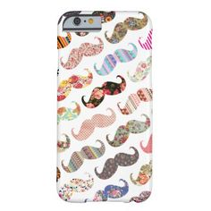 Funny Girly Colorful Patterns Mustaches iPhone 6 Case
