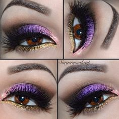 Purple eyes with a pop of gold and pink.