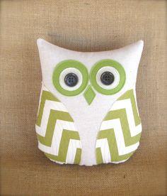 owl pillow, avocado green beige chevron pillow, home decor, green nursery, decorative pillow, dorm room decor by whimsysweetwhimsy