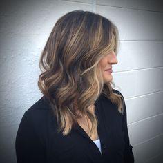 Balayage highlights and lob haircut