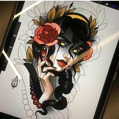 Neo Traditional Art, Traditional Tattoo Old School, Traditional Tattoo Flash, American Traditional, Girl Face Drawing, Female Drawing, Tattoo Sketches, Tattoo Drawings, Tattoo Ink