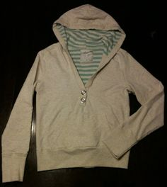 Aeropostale White & Blue Hoodie Pullover V-neck Design Large Button Snap Closure on eBay