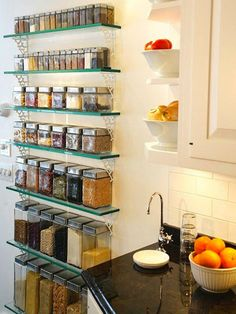 """Pinner Said: """"The Open Pantry Keeping your dry-goods, dried herbs & spices out. Diy Kitchen, Kitchen Interior, Kitchen Dining, Kitchen Decor, Kitchen Organization Pantry, Kitchen Storage, Open Pantry, Glass Shelves, Open Shelves"""