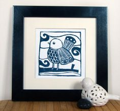 Lino print Bird on a Branch A5 by PocketWren on Etsy, £9.00
