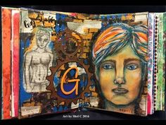 A mixed media style art journal page I made to practice whimsical male faces and figures. I made this page in my gelli printed homemade journal using acrylic...