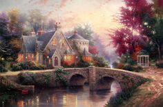 Peaceful morning!Thomas Kinkade - Lamplight Manor - world-wide-art.com  Peaceful Morning