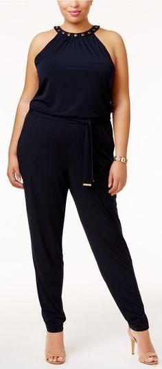 Plus Size Embellished Straight-Leg Jumpsuit