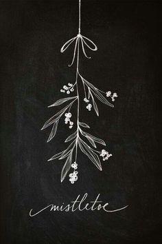 Mistletoe chalkboard print