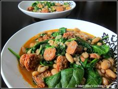 Mary Ellen's Cooking Creations: Chorizo and White Bean Stew with Baby Spinach