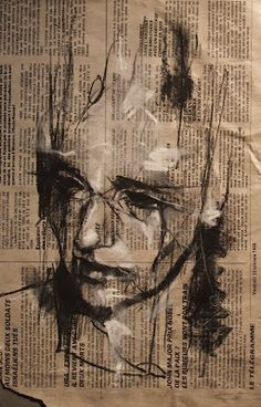 'yesterday, she knew'  conte and chalk on newsprint  20 x 30 cm  4th March 2012