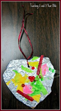 tin foil hearts - teaching 2 and 3 year olds