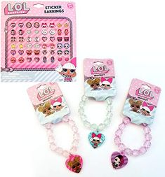 Gift Pink LOL Dolls Set: 3 Beaded Bracelets & Earrings Stickers Pairs) for Gift Party Favors etc Diy Doll School Supplies, Studios D'art, Frozen Headband, Disney Store Toys, Kids Jeep, Disney Princess Characters, Cute Mini Backpacks, Barbie Doll Set, Baby Girl Toys