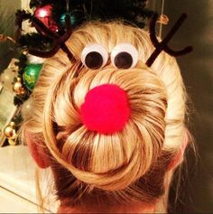12 Holiday Hairstyles Sure To Shock Santa Rudolph hair for tacky Christmas sweater party Noel Christmas, All Things Christmas, Christmas Crafts, Christmas Ornaments, Christmas Ideas, Reindeer Christmas, Christmas Pictures, Christmas Nails, Fun Christmas Outfits
