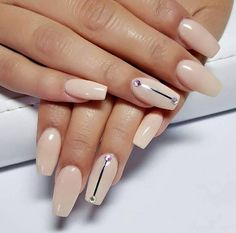 Back to School Nails 3: Long Pink Nude Nails With Silver Lines from reynoldsjustine. Pink and silver is a pretty combination dont you think? This design uses a subdued pink base color and added some silver lines as an accent. #backtoschoolnails #backtoschoolnail #schoolnails