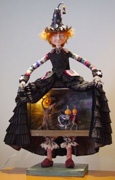 Halloween Witch Theater Doll by Paul Gordon Halloween Chat Noir, Halloween Doll, Holidays Halloween, Vintage Halloween, Halloween Crafts, Halloween Decorations, Halloween Witches, Halloween Diorama, Halloween Magic