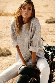 white jeans w/silver gray sweater- Daria Werbowy by Mario Testino