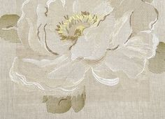 Vanessa Embroidered Curtain Fabric An embroidered floral design in Ivory and Gold on a neutral linen background.