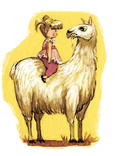 Watercolor/digital illustration of a little girl atop a surly llama.