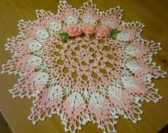 crocheted doily pink home decor handmade in USA by Aeshagirl