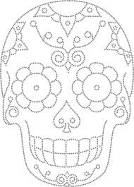 Desenho Caveira Mexicana - Would so use this as a template to carve a pumpkin Mexican Embroidery, Beaded Embroidery, Embroidery Stitches, Embroidery Patterns, Hand Embroidery, Tattoo Crane, Skull Template, Skull Coloring Pages, Sugar Skull Art