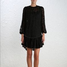 NWT $1350 Zimmermann SS16 Runway Dress Black S From Zimmermann's SS16 Master and Mischief Runway collection! Black is also limited releases. Gorgeous embroidery design with floral vines and delicate gold bead trims. Drop waist and ruffle hem. In size 1, US size 4-6. I'm in love with this dress but my petite frame just couldn't make it work. MORE PHOTOS TO COME! Zimmermann Dresses Mini