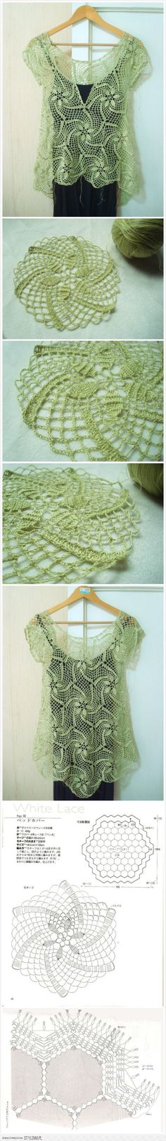 Really nice dreen lace sharing with you with schemas please check it you will like. Débardeurs Au Crochet, Gilet Crochet, Form Crochet, Crochet Shirt, Crochet Woman, Crochet Squares, Thread Crochet, Irish Crochet, Crochet Stitches