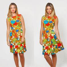 Vintage 50s BRIGHT Floral Day Dress Fit and Flare Sun Dress by LotusvintageNY #50sdress #vintagedress #fitandflare #50sfloral #50sfashion