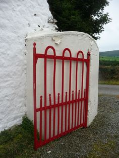 Wrought Iron Red Gate to the entrance of the Molanna Dairy Farm in Ireland. in Ireland. Irish Cottage, Old Cottage, Cottage Plan, Old Garden Gates, Garden Fences, Garden Landscaping, Iron Gates Driveway, House Designs Ireland, Gates And Railings