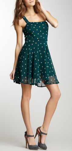 Emerald Polka Dot Dress / Lucca Couture